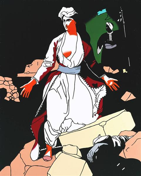 Patrick-Caulfield-Greece-Expiring-on-the-ruins-of-missolonghi-after-delacroix-1963