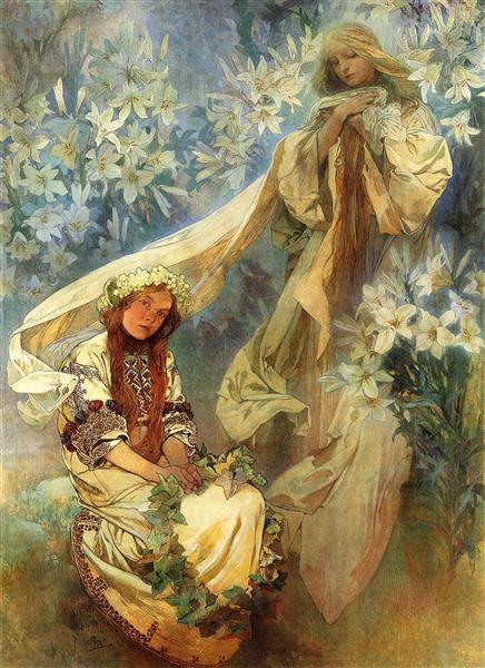 madonna-of-the-lilies-1905-Alphonse-Mucha